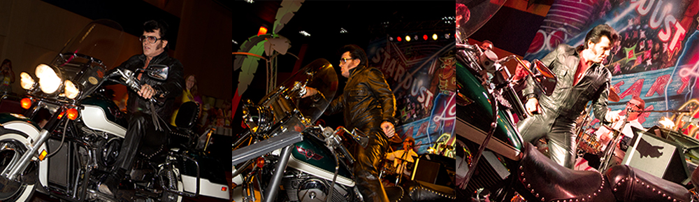 Elvis arrives on his Harley